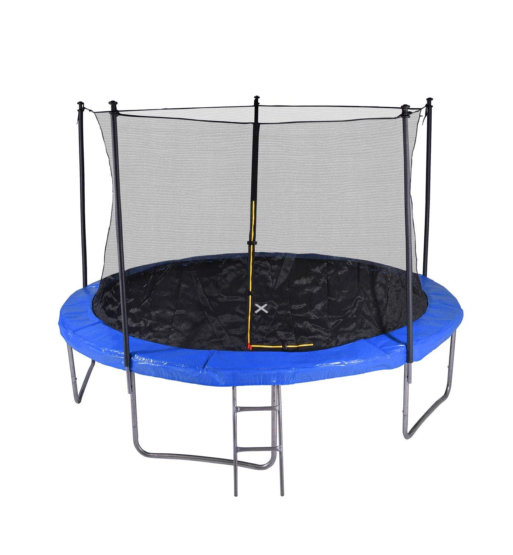 Garten-Trampolin mit Sicherheitsnetz, Leiter und Schaumstoff, Durchmesser 12 m, 366 cm, 5 Sitzstangen – TÜV – blau