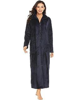 dcf04d7eee Ekouaer Women s Flannel Robe Zipper Front Robes Full Length Bathrobe(S-XXL)