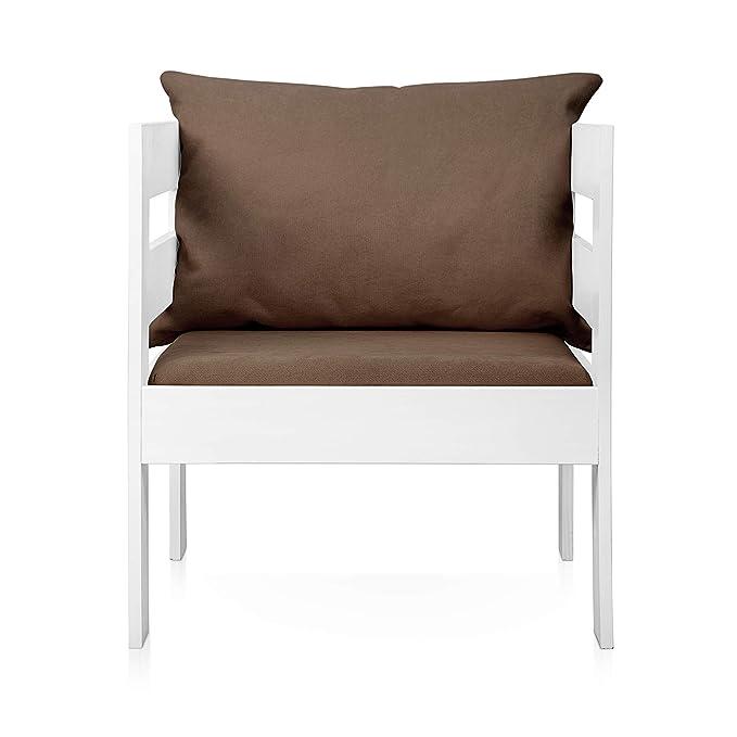 SUENOSZZZ - Sofa Jardin de Madera de Pino Color Blanco, MEDITERRANEO Mod. sillón, Sillon cojín Polipiel Color Azul. Muebles Jardin Exterior. Silla ...