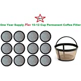 10-12 Cup Permanent Basket-Style Coffee Filter & a set of 12 Water Filters designed to fit Mr. Coffee Coffeemakers