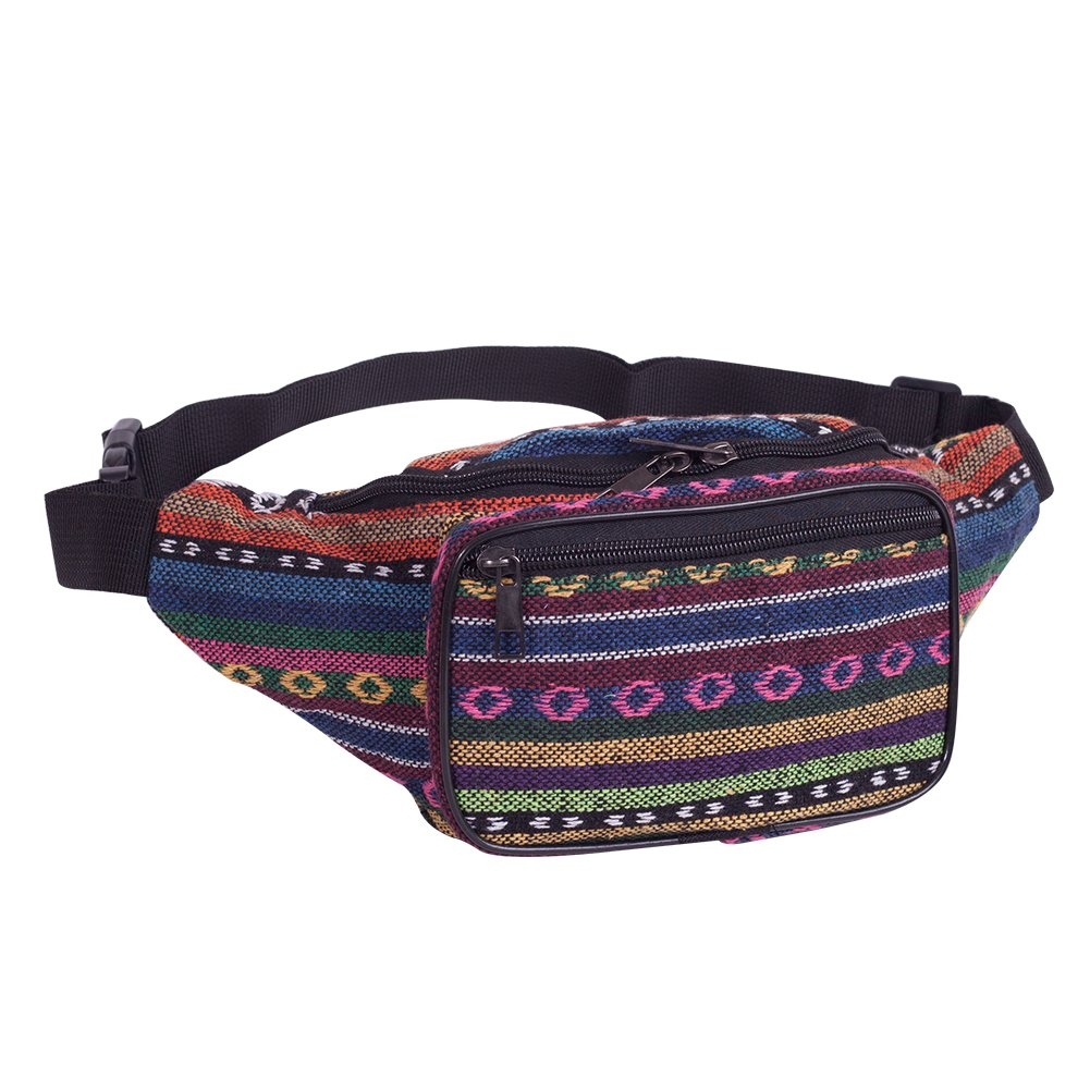 Festival Fanny Pack Stripe 80s Waist Bags, iridescent Woven Tribal Print Waist pack for Travel,Rave Party,Trip,Shopping