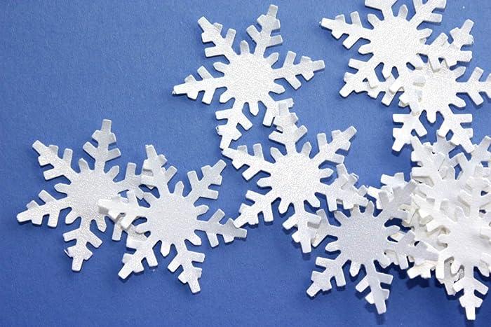 Amazon Com White Shimmer Snowflake Confetti Paper Snowflake Party