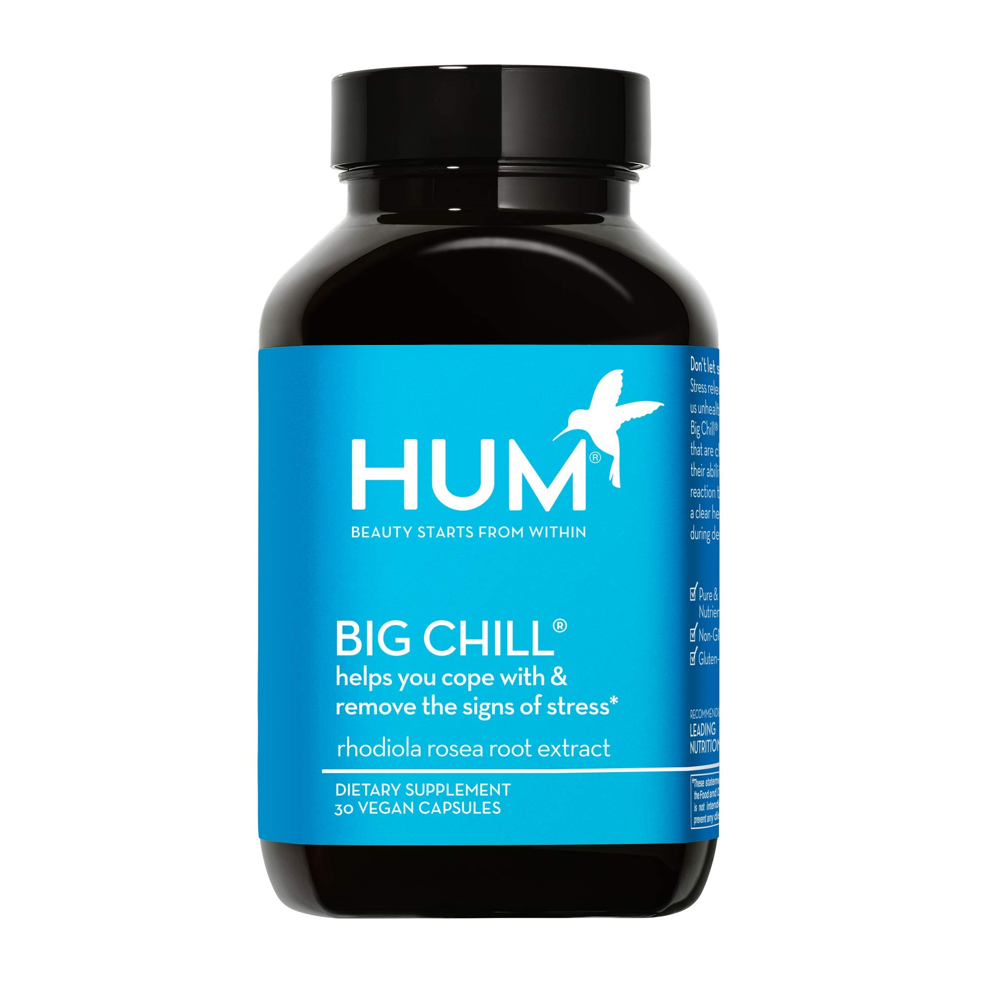 HUM Big Chill - Stress Management Support Supplement - Promotes Calm Mood & Focus with 500mg Rhodiola Rosea - Gluten Free & Non-GMO (30 Vegan Capsules)