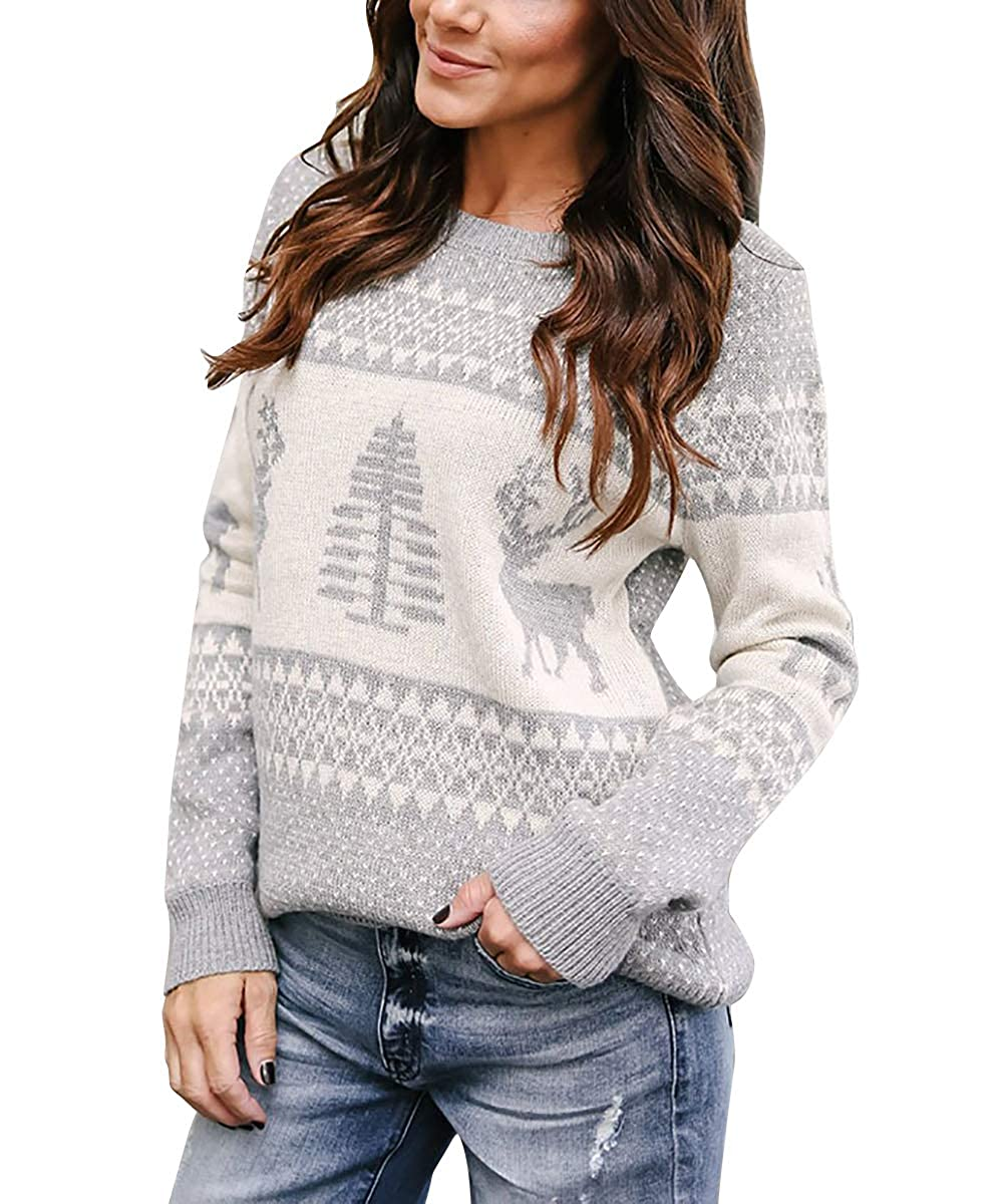 d7072e9cd5904 Yidarton Women  s Causal Pullover Sweaters Long Sleeves Cute Heart Patterns  Crew-Neck Knit Sweater at Amazon Women s Clothing store