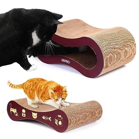 URPRO Tabla rascadora para Gatos, cartón Superior 2 en 1 para Gatos, casa de