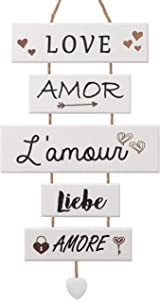 Rustic Wood Wall Decor Love Sign – Wall Hanging Decor for Bedroom Living Room Kitchen and Office – Wooden Decorative Signs for Home Decor – 5 Panels Love Sayings Rustic Wall Decor – Vertical Wall Art