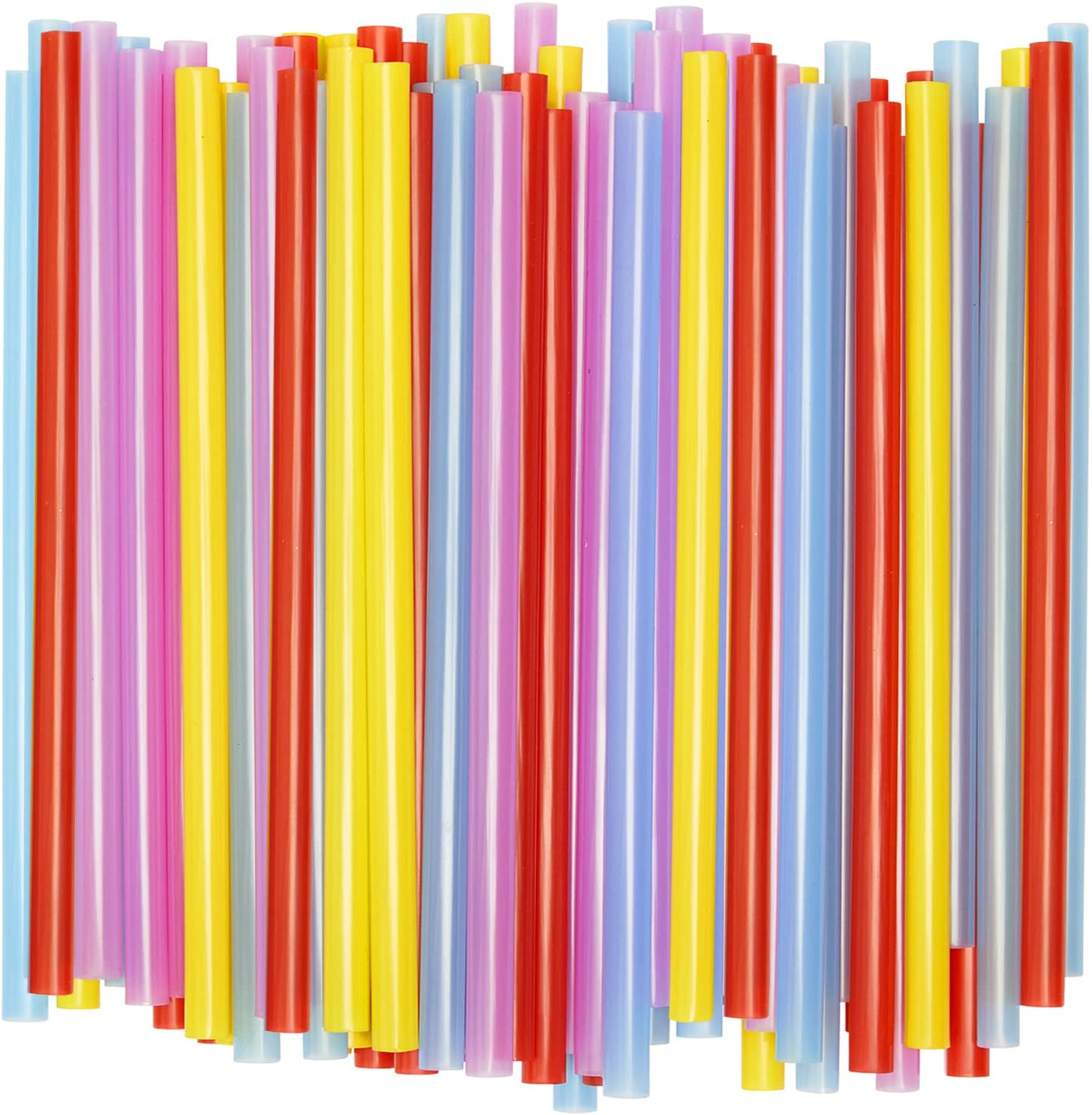 Wide Straws for Drinking & Smoothies [100 Pack] Assorted Colors