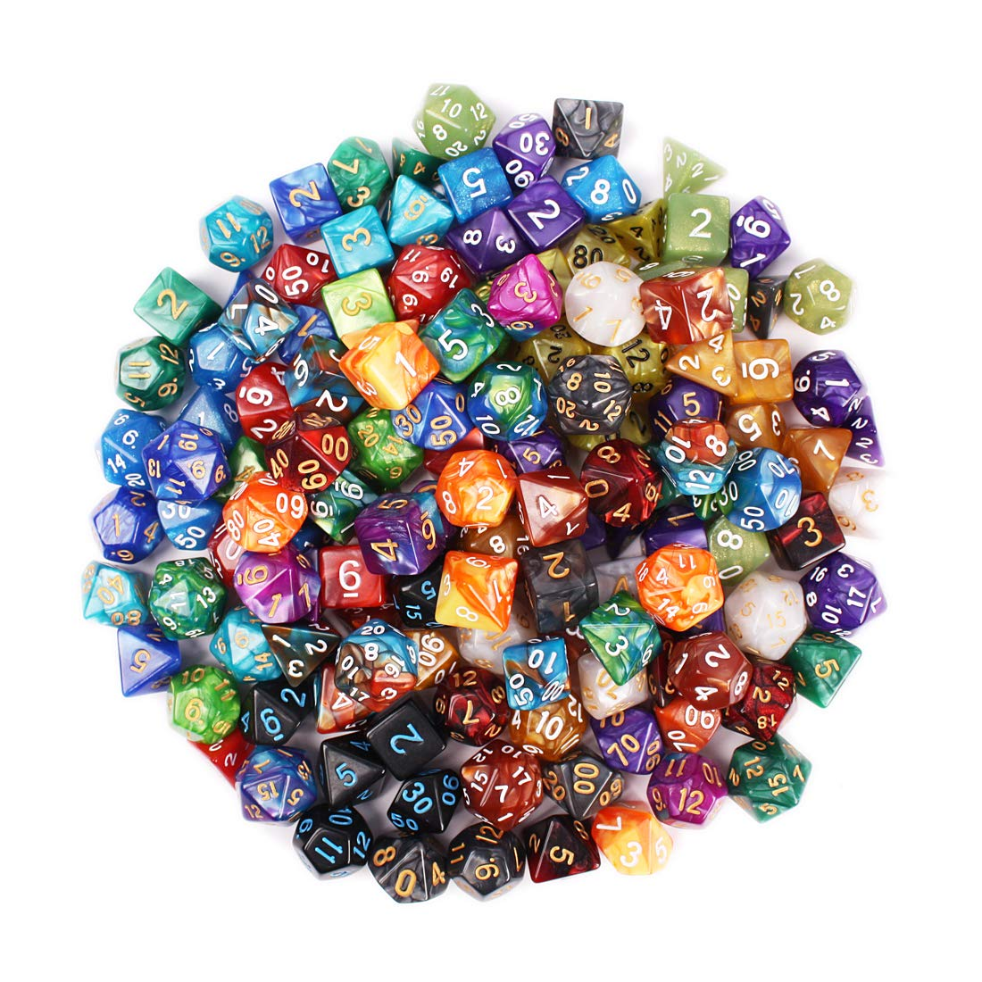 QMAY DND Dice Set, 140PCS Polyhedral Game Dice, 20 Color Double-Colors DND Dice Role Playing Dice for Dungeon and Dragons DND RPG MTG Table Games Dice D4 D8 D10 D12 D20 by QMAY (Image #5)