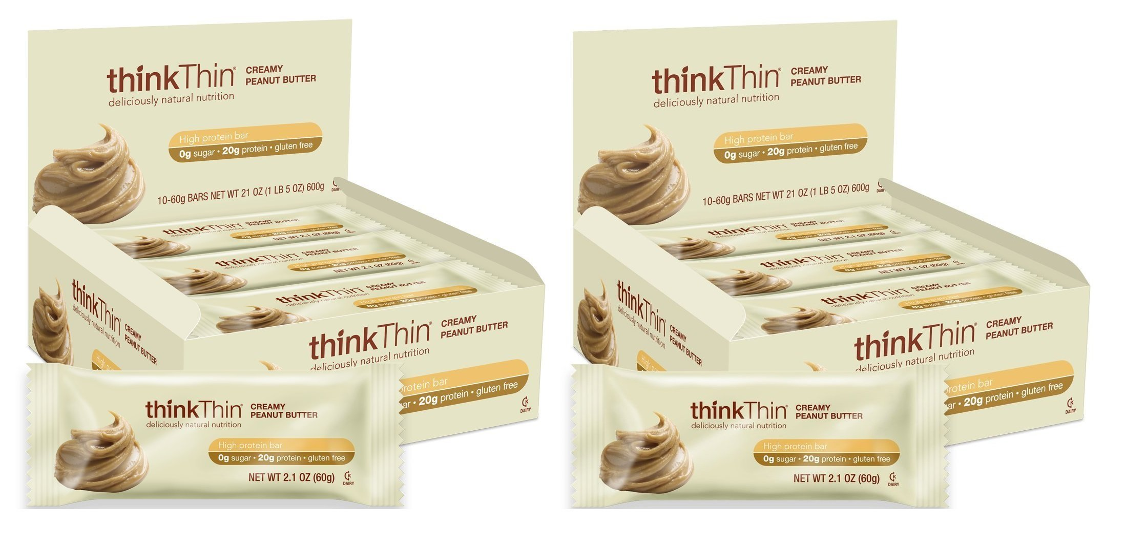 Think Thin 20 Pack (2 X Box of 10) (1,200g) - (Creamy Peanut Butter)