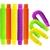 Hslife 8 Pack Pop Tubes Sensory Toy, Pop Multi-Color Stretch Pipe Sensory Toys for Stress and Anxiety Relief