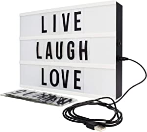 Northpoint White Po 10-LED Black Decor Mini Box with 109 Letters, Numbers and Characters, Home Lighting, Wall Mounted or Tabletop, Battery or USB Powered - GM8292