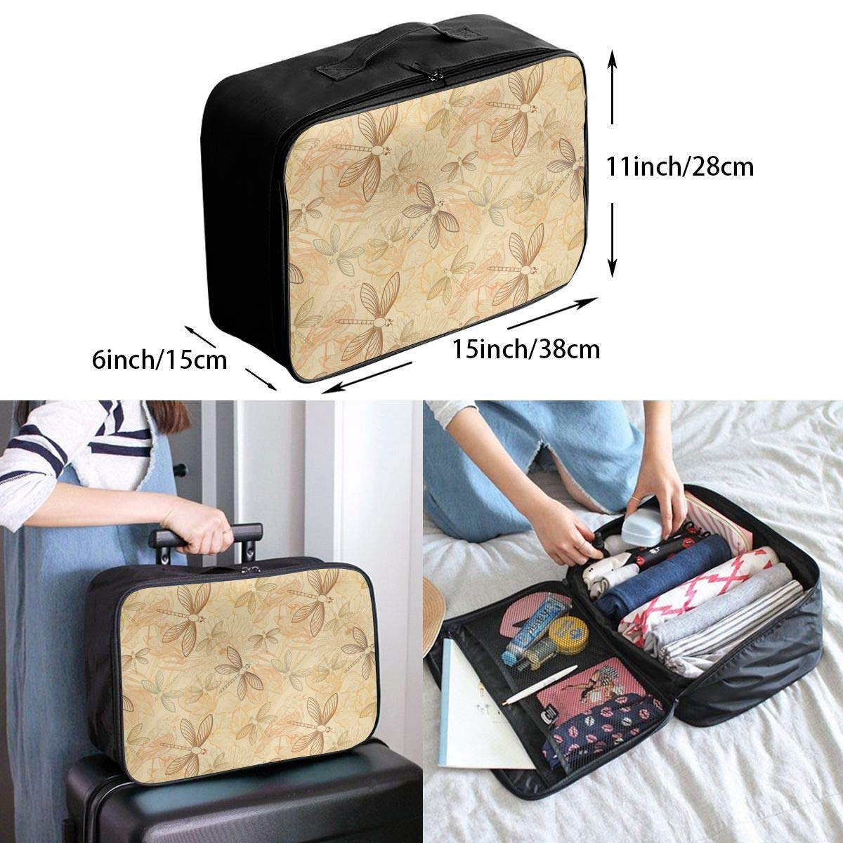 Vintage Style Birds And Dragonfly Chic Animal Travel Fashion Lightweight Large Capacity Duffel Portable Waterproof Foldable Storage Carry Luggage Tote Bag