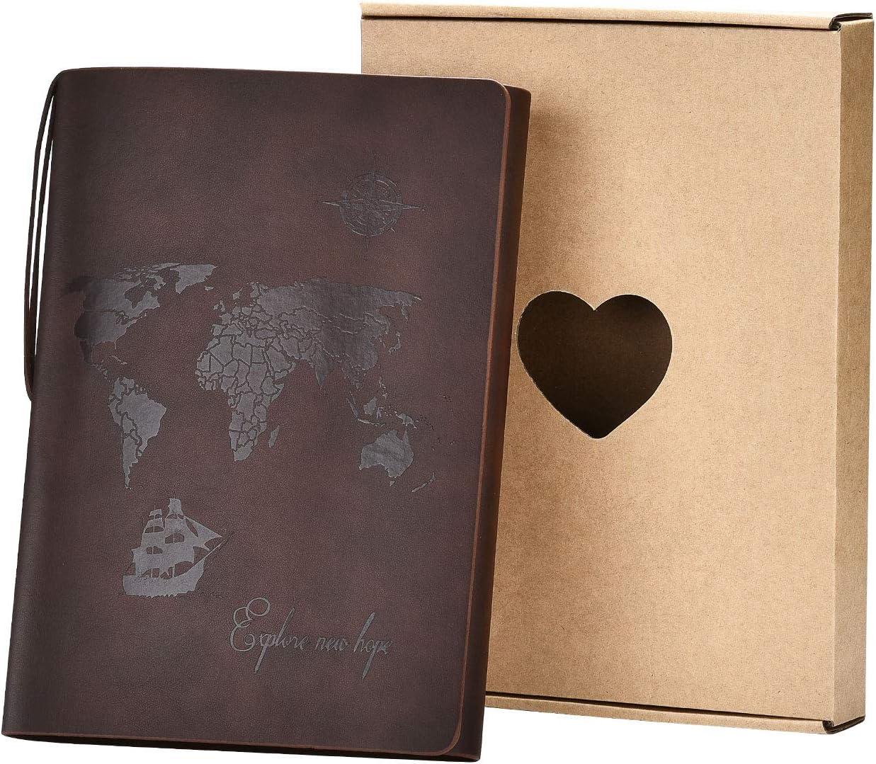 SEEALLDE A5 Cuaderno de Cuero Libreta Hojas Blancas Cuaderno de Viaje Vintage Rellenable Bloc Notas Diarios para Escribir Pintura Regalos de Navidad San Valentín Cumpleaños Aniversario Madre(Café A5)