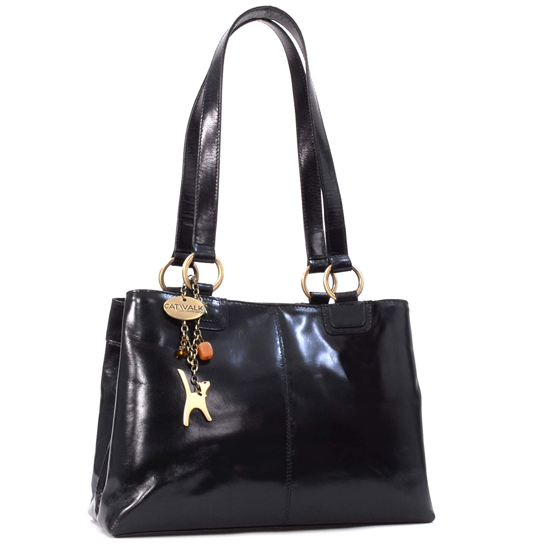 148b05d6362788 Catwalk Collection Handbags - Women's Large Vintage Leather Tote/Shoulder  Bag - BELLSTONE - Black: Amazon.co.uk: Shoes & Bags