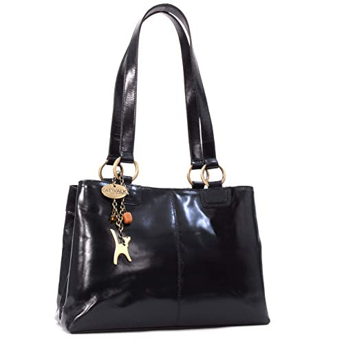 Catwalk Collection Handbags - Women s Large Vintage Leather Tote Shoulder  Bag - BELLSTONE - Black 5e013f54a8ed6