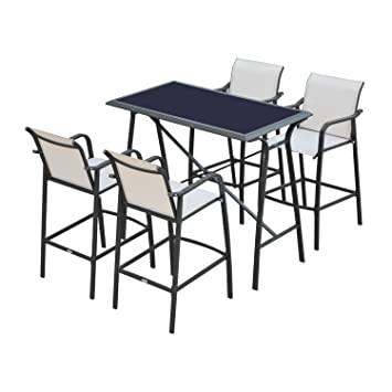Outsunny 5 Piece Outdoor Patio Bar Height Dining Set