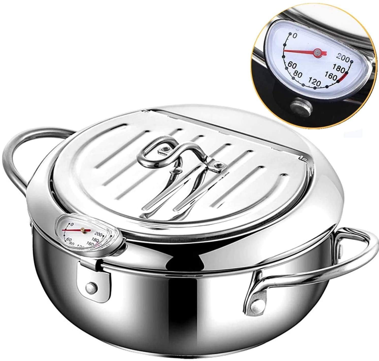 "Tempura Deep Fryer Pot Thermometer, Japanese Style , Stove top, Christmas gift, Oil Drip Drainer Rack. Stainless Steel deep Frying Pan. French Fries Pot. 304 Stainless Steel 24CM (9.5""), 3.4L capacity."