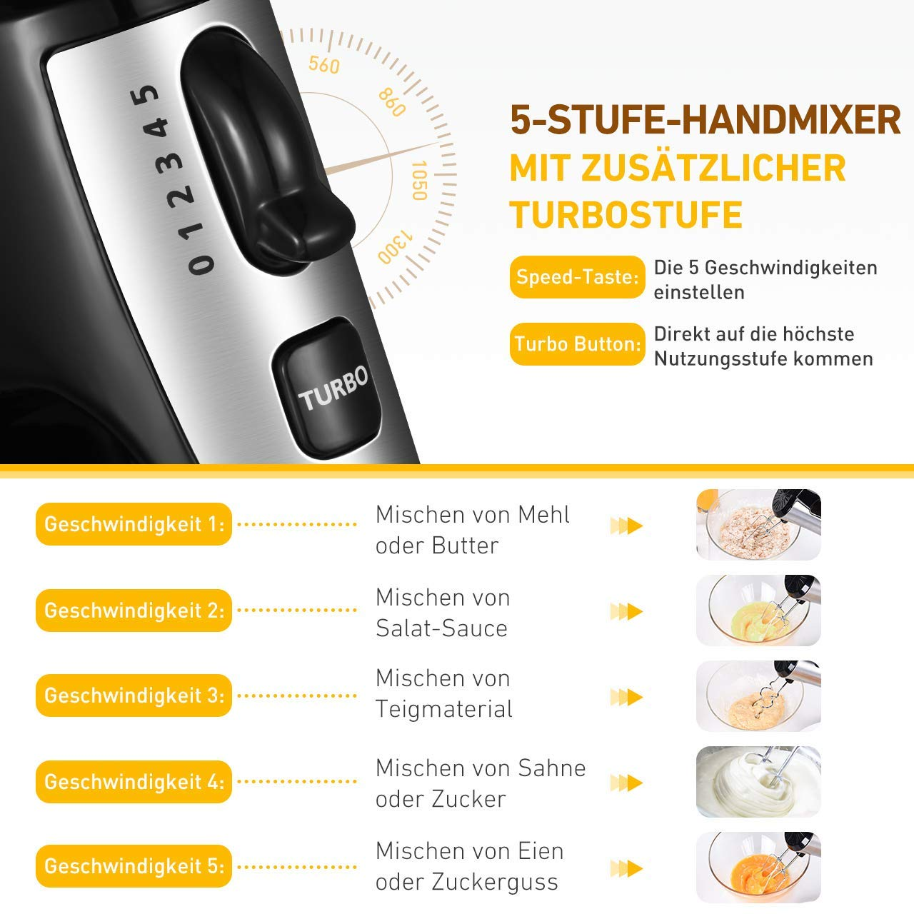 Hand Mixer Holife 300W Electric Hand Mixer for Baking Stainless Steel Beaters and Dough Hooks 5 Speed Durable Handheld Mixer with Turbo and One-Button Eject Silver