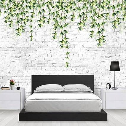Colomac Wall Mural Modern Simple Green Leaf Vine White Brick Wall