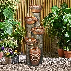 Hamiedun 5 -Tier Outdoor Garden Water Fountain Decor, Resin Fountain for Garden, Floor Patio, Deck, Porch, Backyard and Home Art Decor (Brown, 39.7inch)
