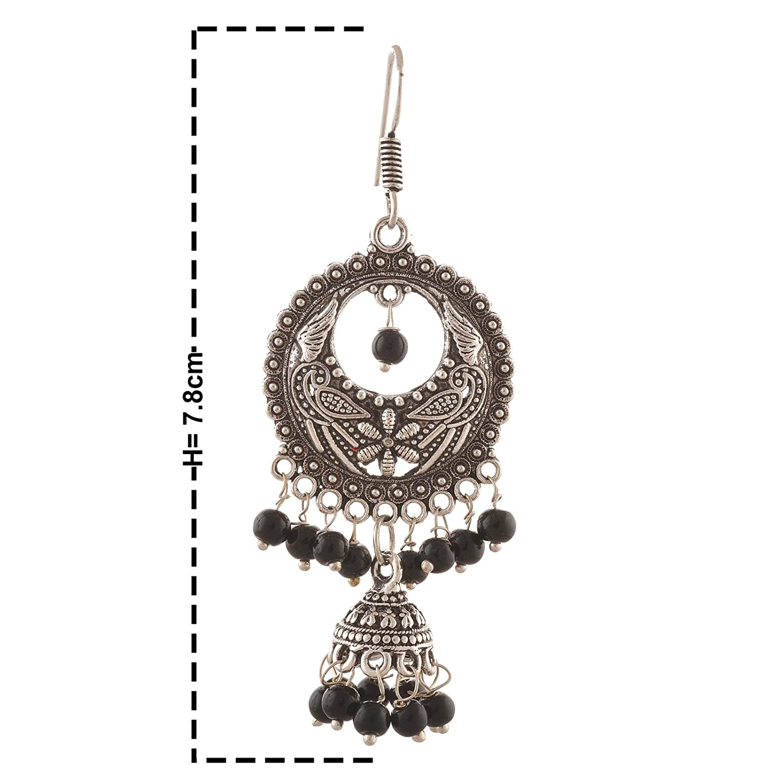Zephyrr Fashion German Silver Hanging Hook Chandbali Jhumki Earrings for Girls For Womens