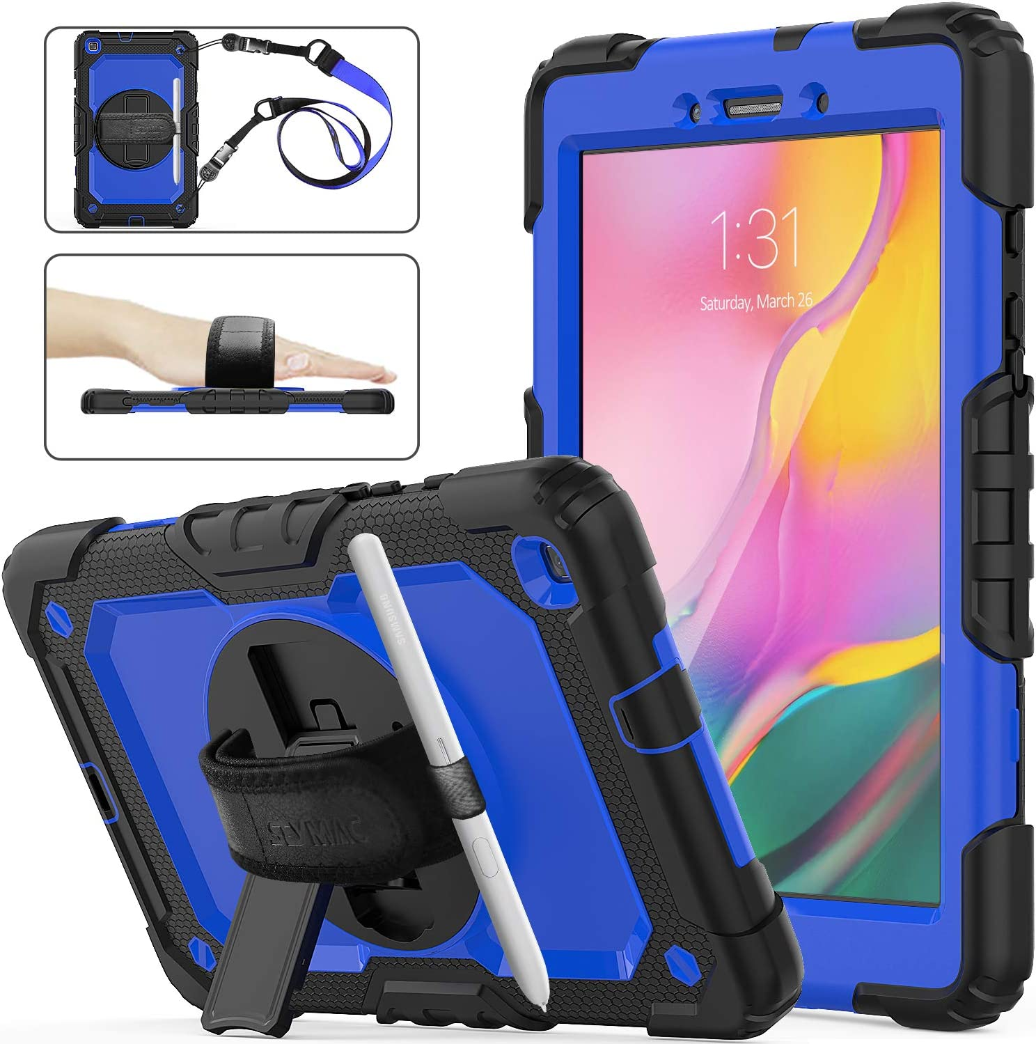 SEYMAC Stock Galaxy Tab A 8.0 SM-T290/T295/T297 Case, Shockproof Full-Body Rugged Armor Case with 360 Rotating Stand Pen Holder Screen Protect Hand Strap for Samsung Tab A 8.0 (Blue+Black)
