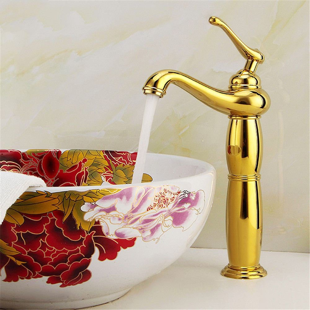 Hlluya Professional Sink Mixer Tap Kitchen Faucet On the golden basin cold water tap full antique copper single handle single hole basin mixer