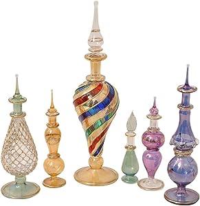 CraftsOfEgypt Genie Blown Glass Potion Potions Decorative Miniature Decorative Egyptian Perfume Bottles Mix Set of 6pc