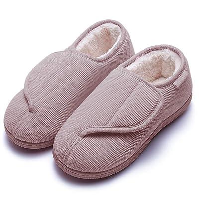 Amazon.com | GaraTia Women's Memory Foam Diabetic Slippers Furry No-Slip Arthritis Edema House Shoes Nude Pink 9-10 M US | Slippers