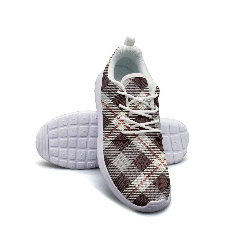ERSER British Plaid Brown Lattice Road Running Shoes Women