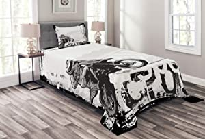Ambesonne Motorcycle Bedspread, Motocross Racer Image Grungy Background Poster Style Monochromic Artwork Print, Decorative Quilted 2 Piece Coverlet Set with Pillow Sham, Twin Size, Black White