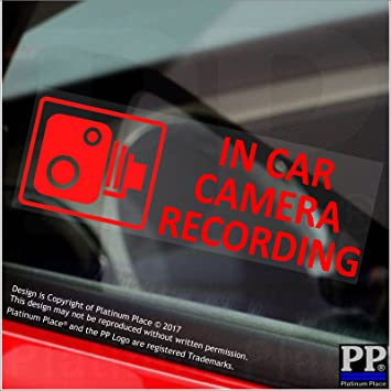 5 x small in car camera recording red clear stickers cctv sign van