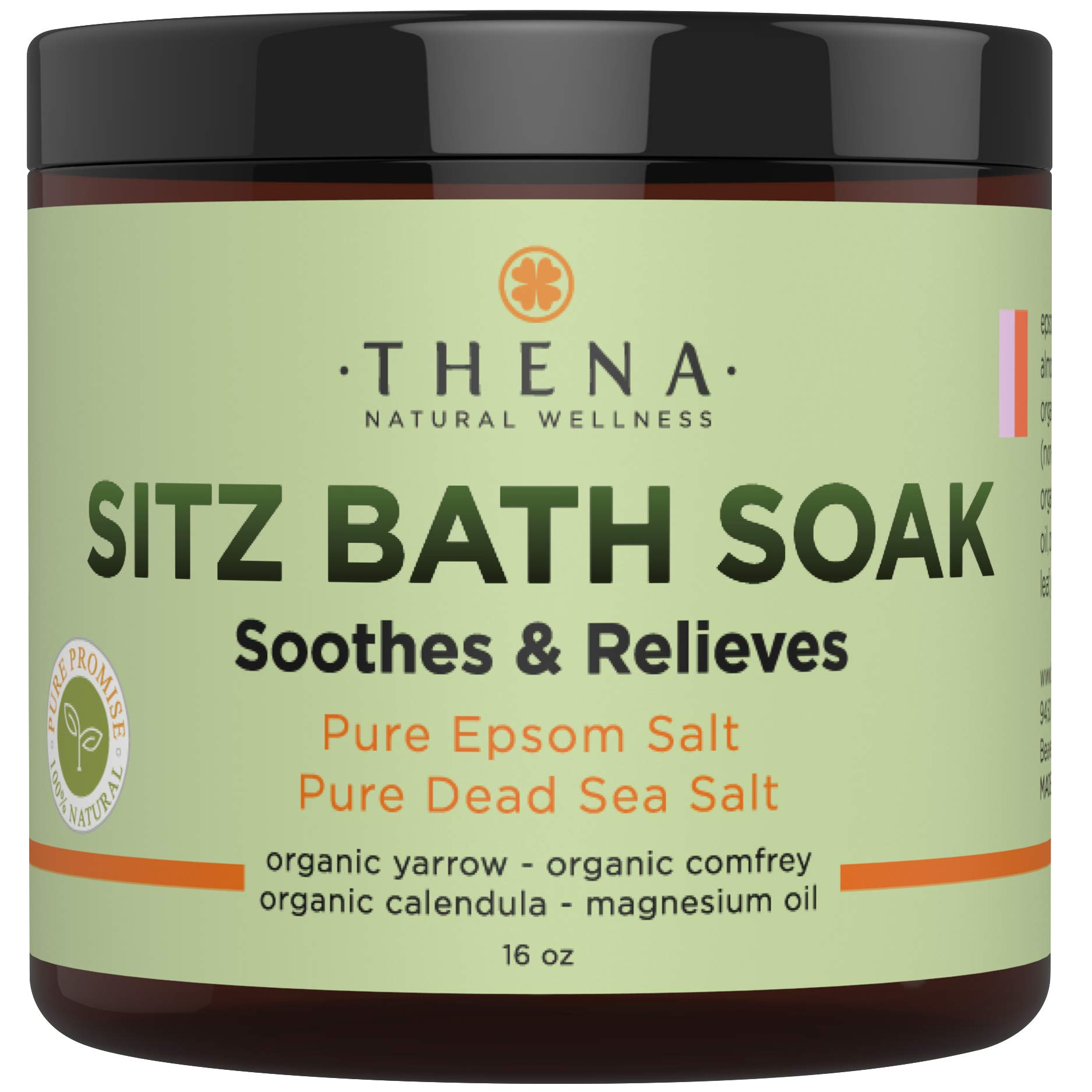 Best Organic Sitz Bath Soak For Postpartum Care Recovery & Natural Hemorrhoid Treatment, Soothes Relieves Pain Reduces Discomfort, 100% Pure Epsom & Dead Sea Salts Witch Hazel Lavender Essential Oil by THENA Natural Wellness