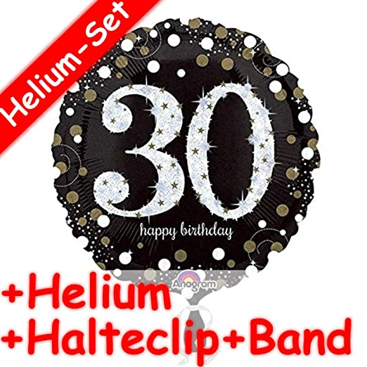 Carpeta Globo * Número 30 Happy Birthday + Helium Relleno + ...
