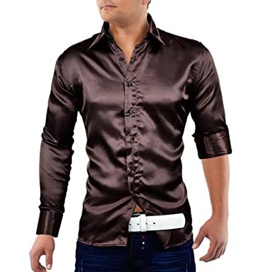 Herren Satin Hemd glänzend Polo Shirt Langarm Figurbetont glanz Club  Elegant, Größen L  96db4a2f42