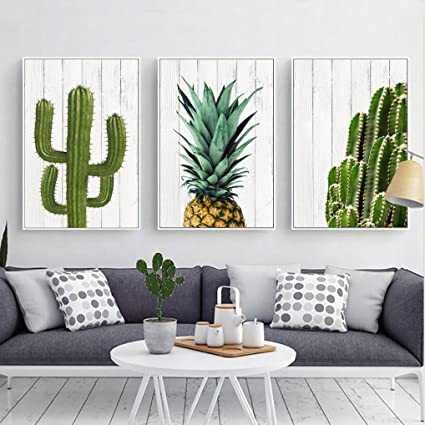 Tropical Desert Cactus U0026 Pineapple Canvas Print, Wall Art, Poster, Airbnb  Home Decor