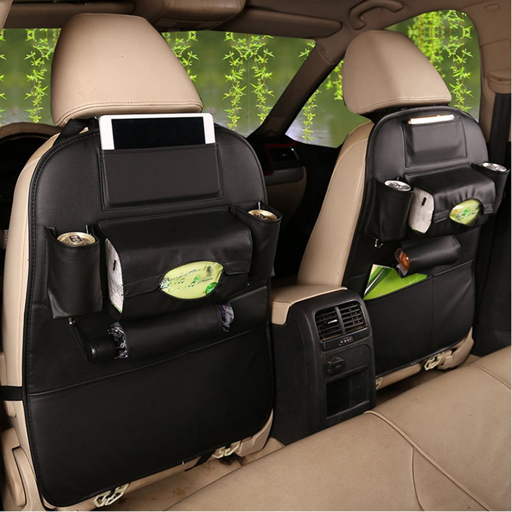 2 PACK PU Leather Car Backseat Organizer ,MLOVESIE Travel Storage Protectors for Kids Toys Bottles Tissue Box Cellphone IPad Tablet Umbrella