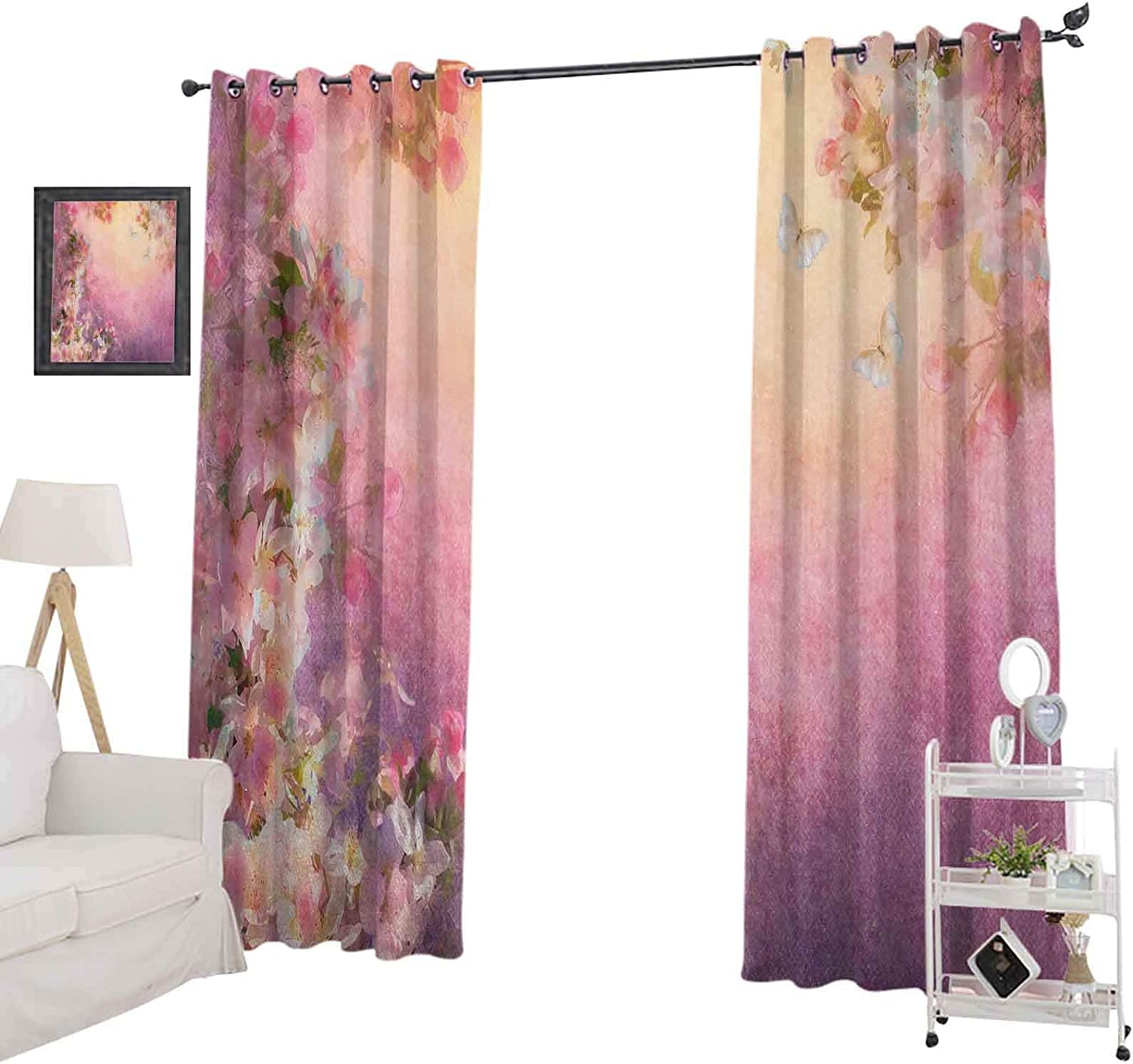 """YUAZHOQI Window Curtain Drape Enchanted Cherry Blossom Petals Field Shabby Chic Floral Garden Spring Picture, Blackout Curtains for Kids Bedroom 52"""" x 63"""", Pale Pink Peach"""
