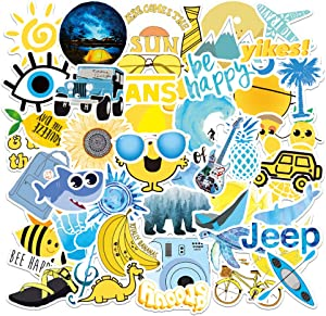 VSCO Stickers for hydroflasks|100PCS| Cute Waterproof Vinyl Stickers for Laptop Water Bottle Bumper Hard hat Phone Skateboard Computer for Water Bottles Yellow Blue Girls Kids Stickers(Vsco-100)