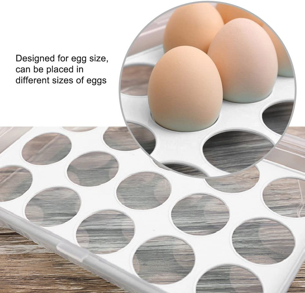 Egg Tray for Refrigerator,15 Eggs Tray Holder with Lid,Portable Shatter-proof Covered Egg Container//Box//Case//Carrier//Crate//Dispenser for Camping,Plastic Stackable Storage Organizer//Bin Blue