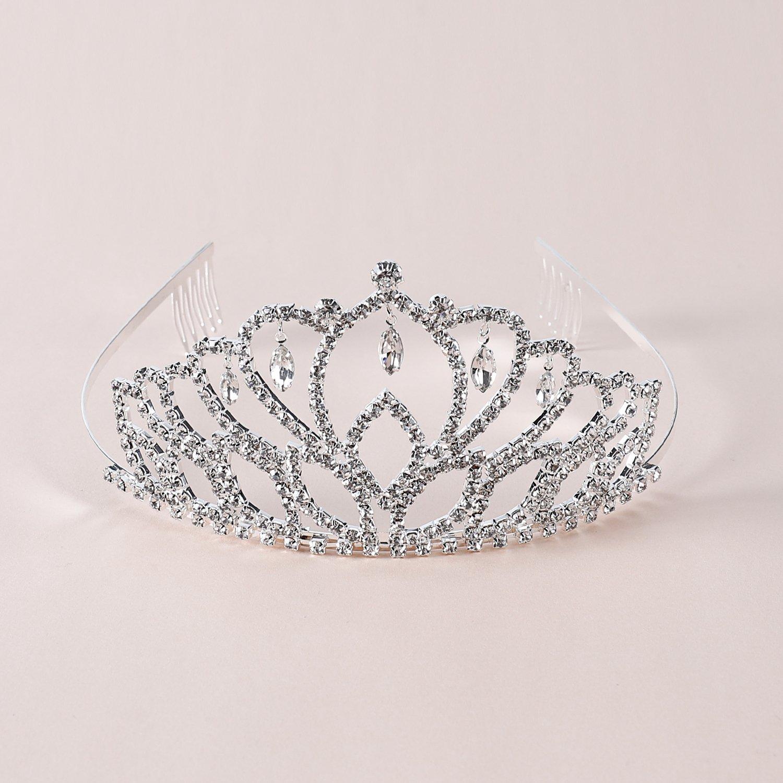 Elegant Tiara Crystal Hair Crown - Rhinestones Headband for Queen, Bridal, Princess in Wedding, Party and Birthday 1-2 - by NIPOO by Nipoo (Image #2)