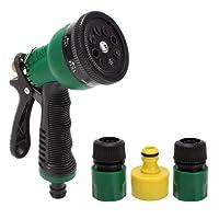 HOKIPO Plastic Garden Hose Nozzle Water Spray Gun Connector Tap Adapter Set (Green)