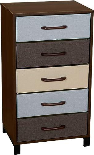 Household Essentials Wooden 5 Drawer Dresser Storage Night Stand Mahoganey