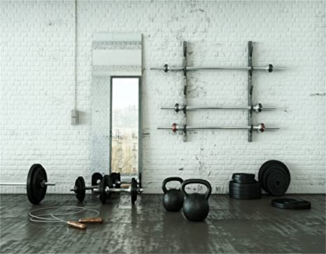 Amazon aofoto ft gym dumbbell room backdrop interior