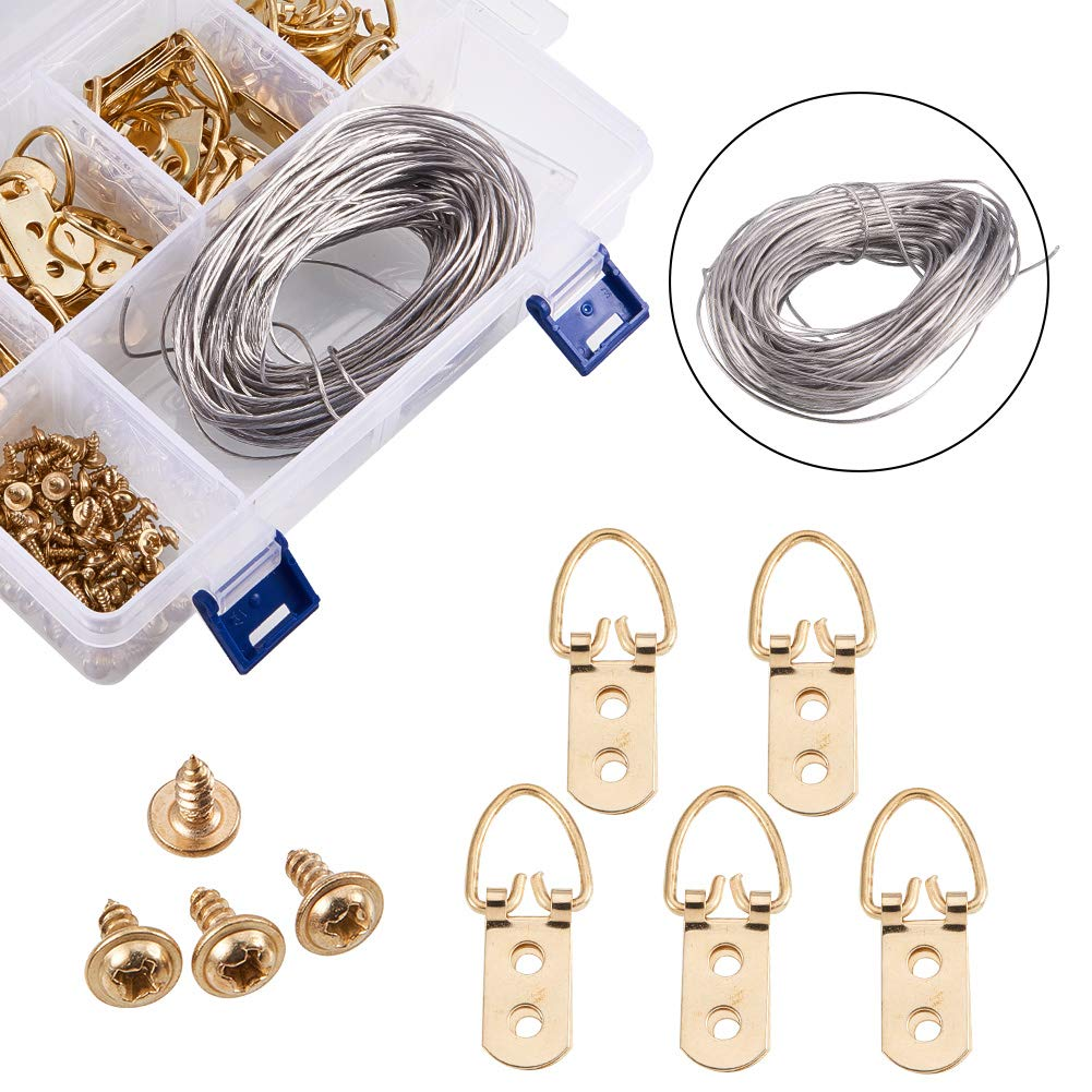 NBEADS 1 Box Golden Color Picture Hangers Kit Photo Frame Hanging Iron Tool Kits Assortment Steel Wire Screw D-Ring Home Decoration