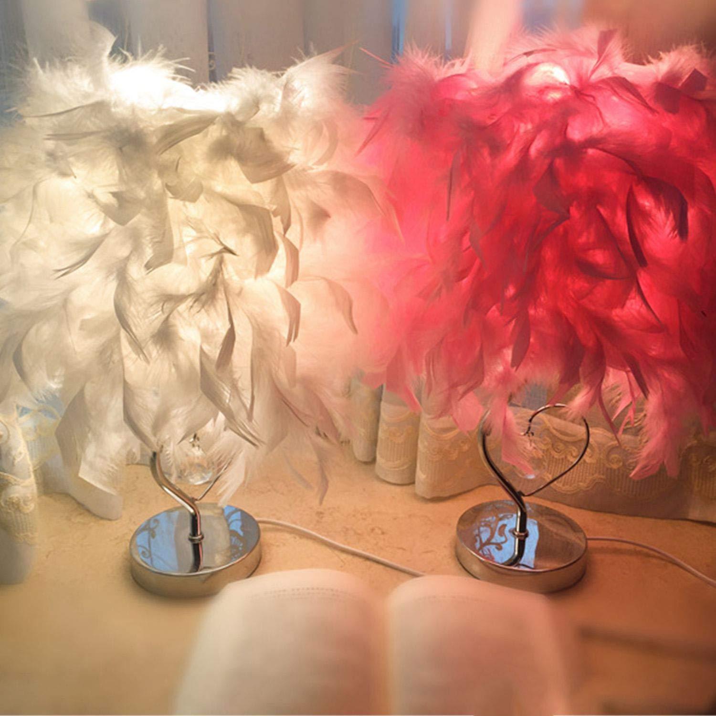 Nrpfell Salon de lecture de chambre a coucher Lampe lumiere de table en cristal en forme de coeur avec plume pour Salon Salle de lecture Chevet Chambre a coucher EU fiche Rose