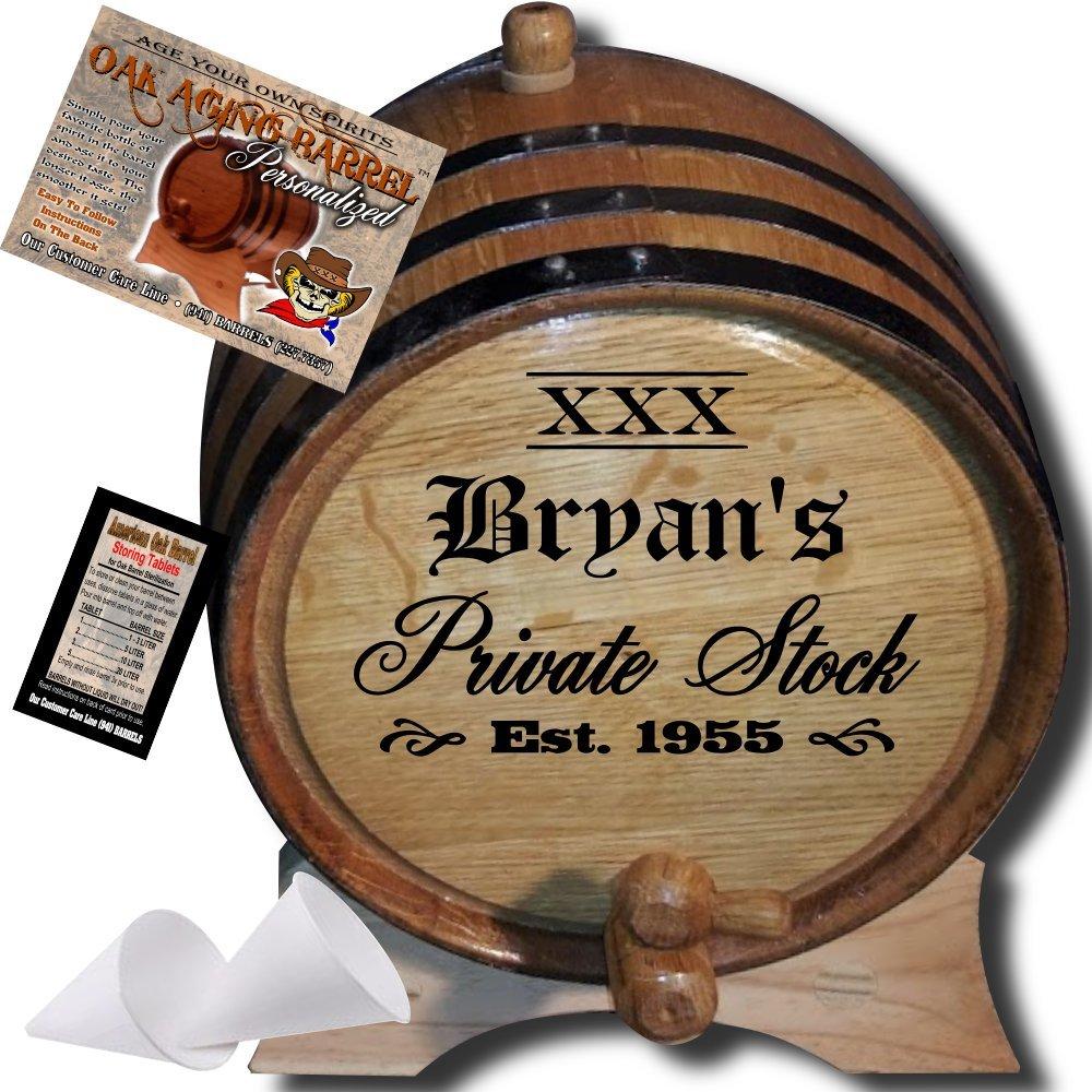 Personalized American Oak Aging Barrel - Design 021: XXX Private Stock (3 Liter)