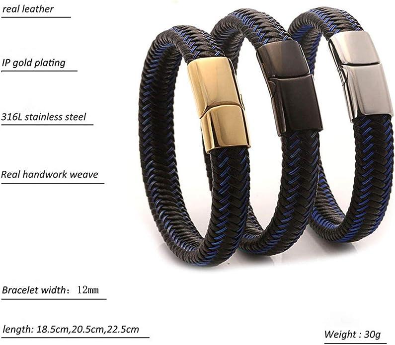 Gnzoe Men Bracelets Leather Round Woven Leather Wristband Bangle Bracelets