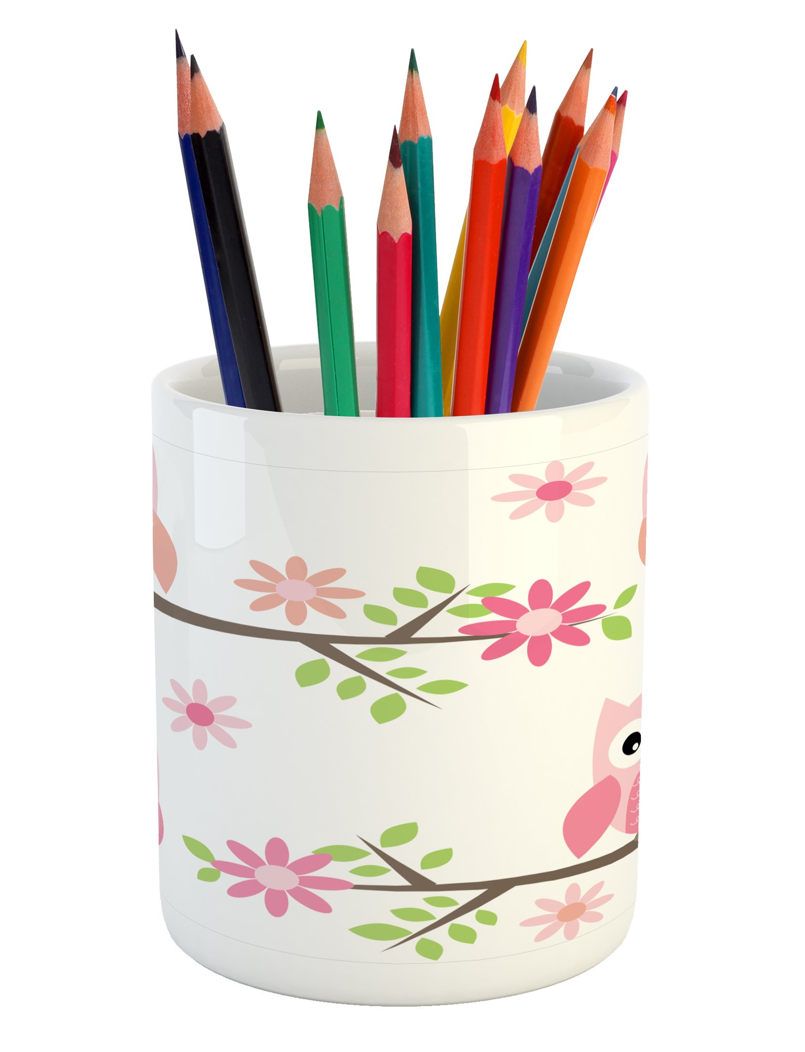 Ambesonne Owl Pencil Pen Holder, Cute Baby Owls Waving in The Floral Tree Springtime Artful Girly Design Print, Printed Ceramic Pencil Pen Holder for Desk Office Accessory, Pink Green White
