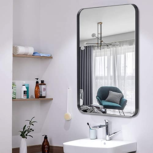 NeuType Wall-Mounted Mirror Rectangular Hanging Mirror Metal Framed Wall Mirror, Best for Bathroom, Washroom, Bedroom, Living Room Black Brushed Stainless Steel Frame , 32 x24